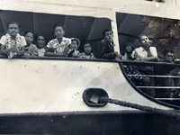 An inter-island steamship with Moriso Teraoka on board en route to Lanai to pick pineapples for the summer.