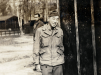 Moriso Teraoka at Camp Patrick Henry in Virginia, a stop en route home at the end of the war. Camp Patrick Henry, Virginia. Late November or early December 1945.