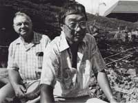 Moriso Teraoka and Bill Jones in the Cactus and Succulent Garden at Kapiolani Community College (1989).